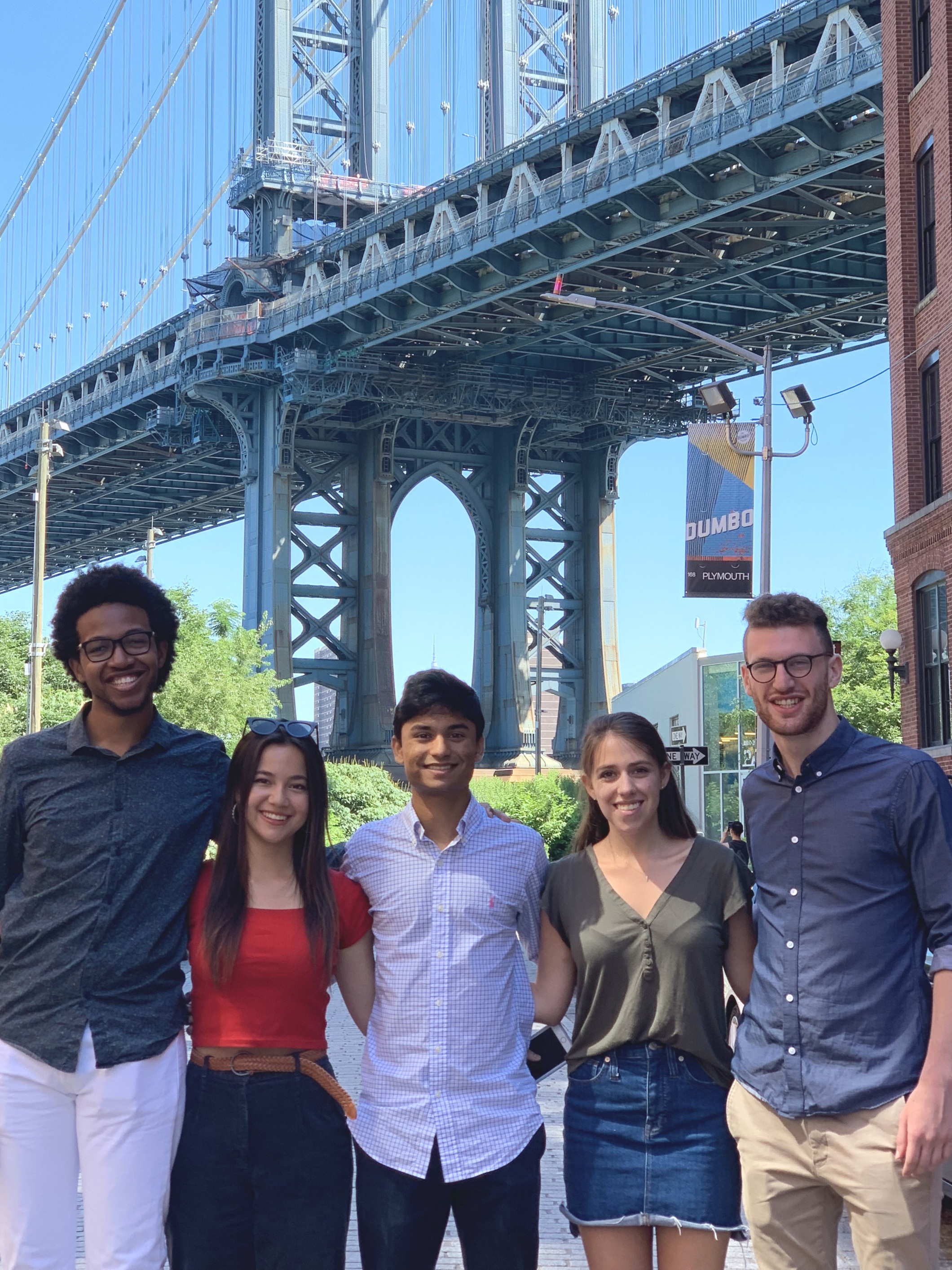 The 2019 TurboVote Summer Associates, from left to right: Michael, Ella, Akshay, Deanna, and Sam.