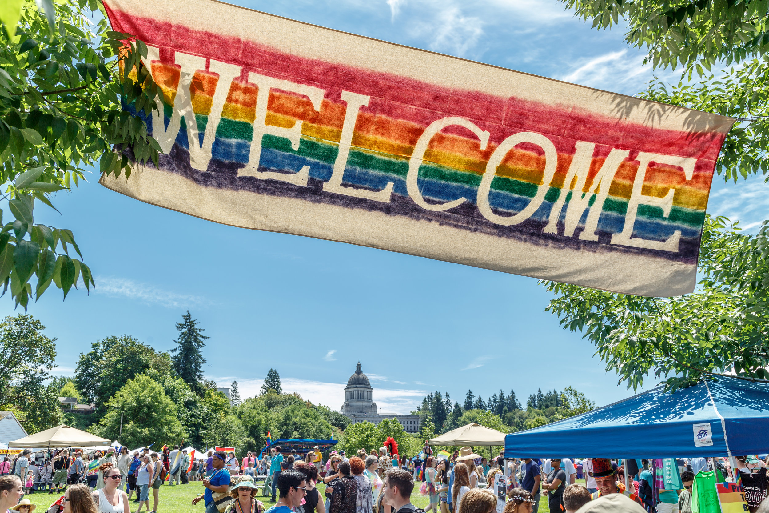 Celebrate pride in the shadow of the Capitol Building in Olympia, Washington.