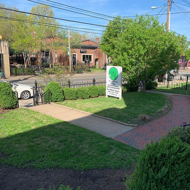 Our front yard is looking great, thanks to our groundskeeper KJ!  Also- our neighbors @sadhanayogalouisville have a cool spot with some of the realest yoga teachers we've ever seen. Check them out!