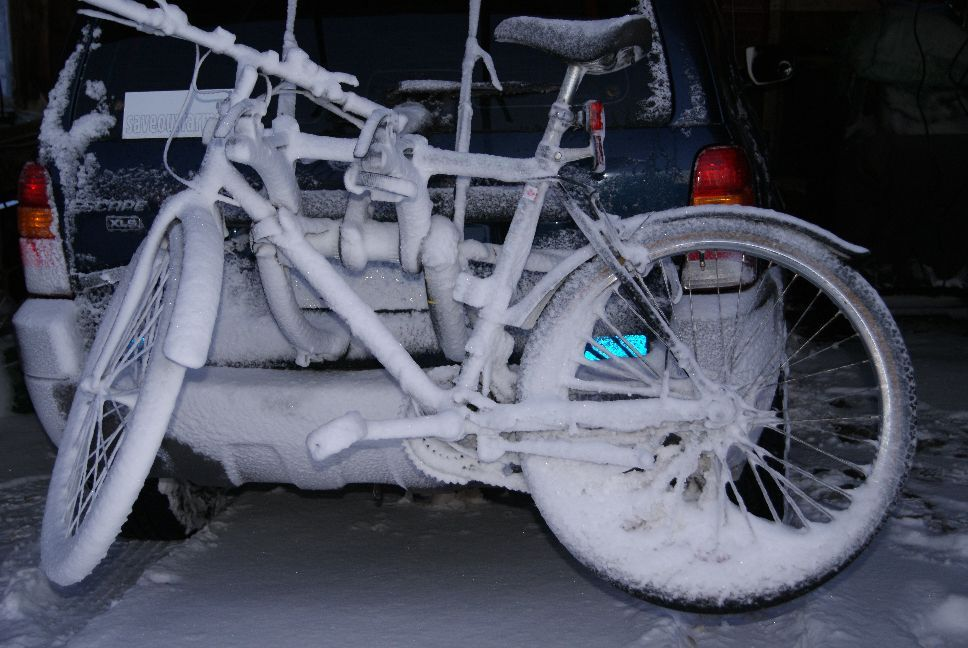 20120120 Rick's bike after the drive home in a snow storm