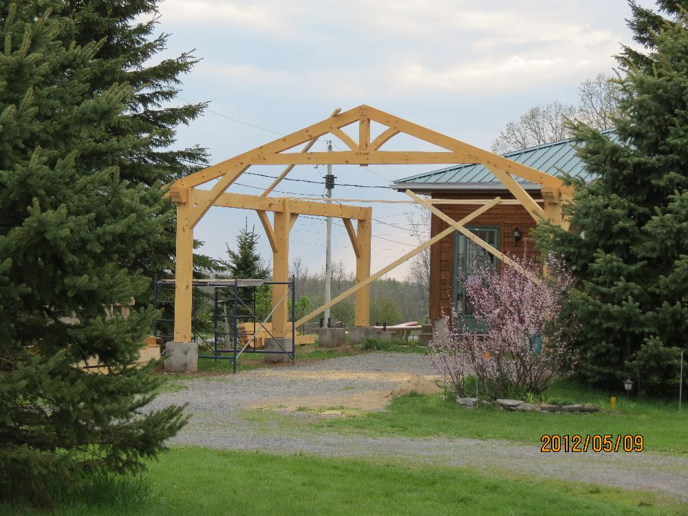 120509 the start of our  timber frame carport
