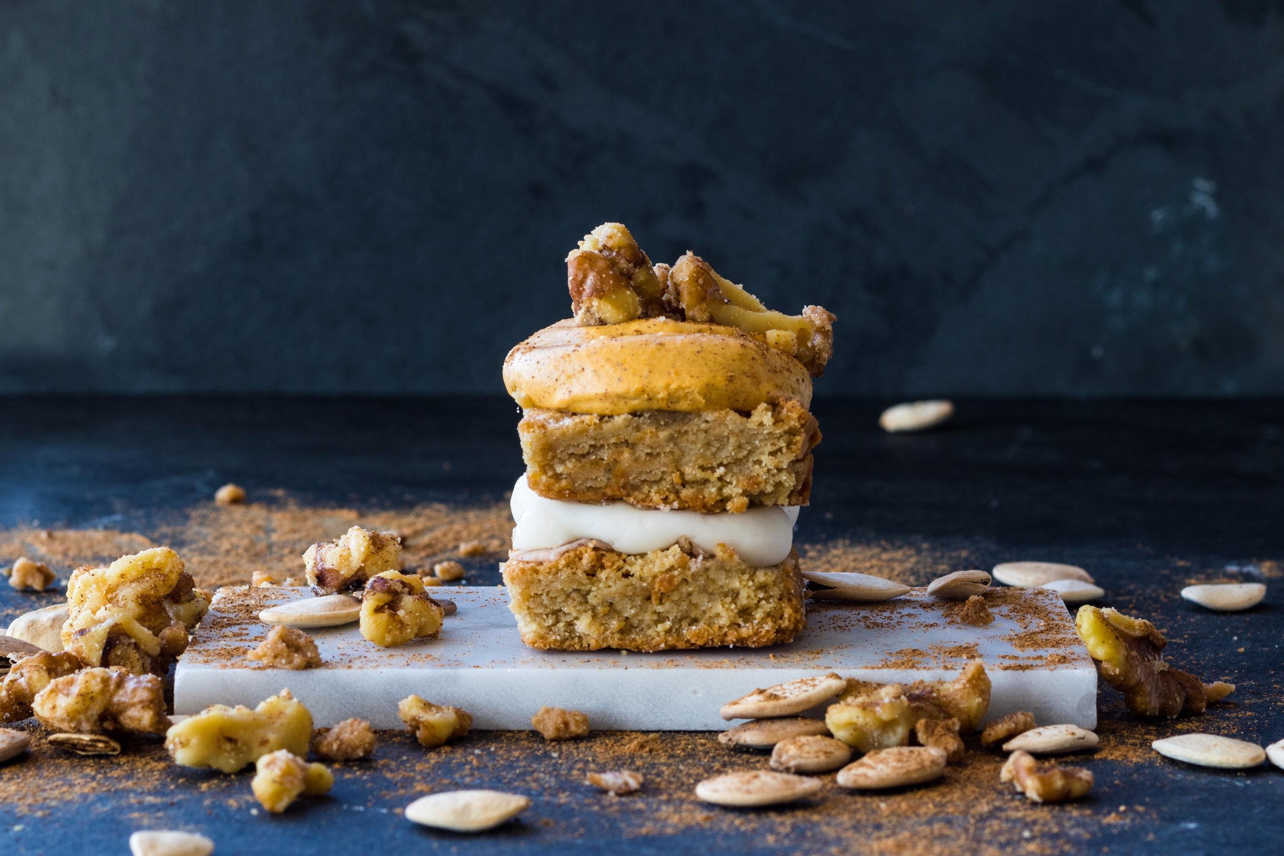 PUMPKIN SPICE (seasonal): Pumpkin cheesecake, sugared walnuts, spiced sprinkles, cheesecake filling, blondie base