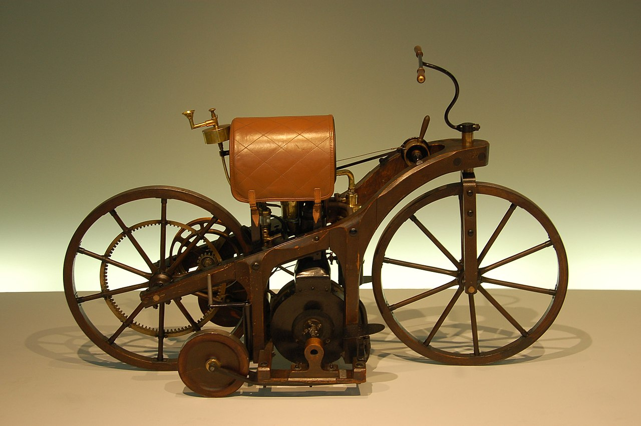 """The 1886 """"Benz Patent-Motorwagen"""" is generally considered the first automobile, but it had only three wheels."""