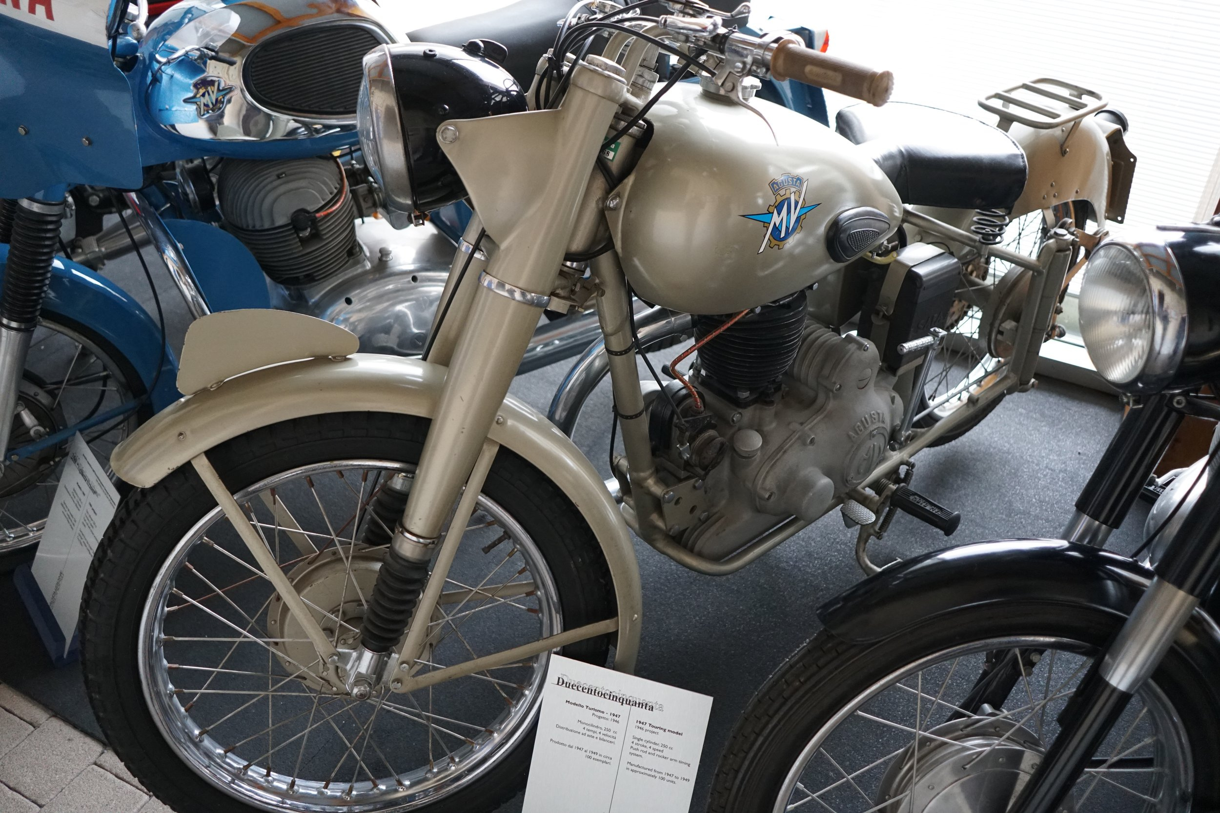 '47 Duecentocinquanta – This 250cc pushrod single had an unimpressive production run of about 100 units in the late '40s.
