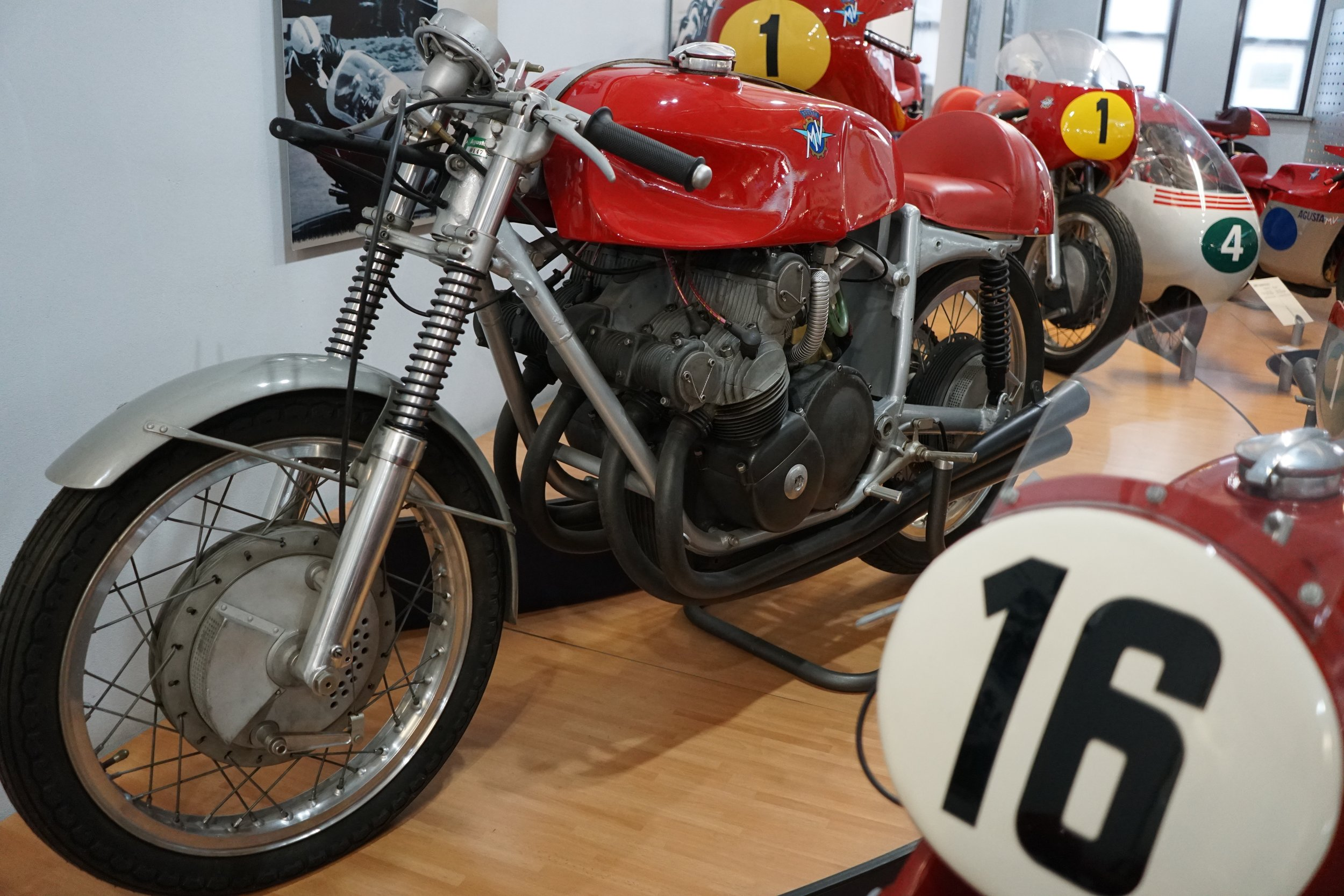 '56 350-4 – This 350cc four-cylinder is of the type raced from 1953-'63. DOHC, five speeds, 51.5 hp @ 11,000 rpm. Mike Hailwood delivered the last victory for this model at the scary old Imatra circuit in Finland, in 1963.
