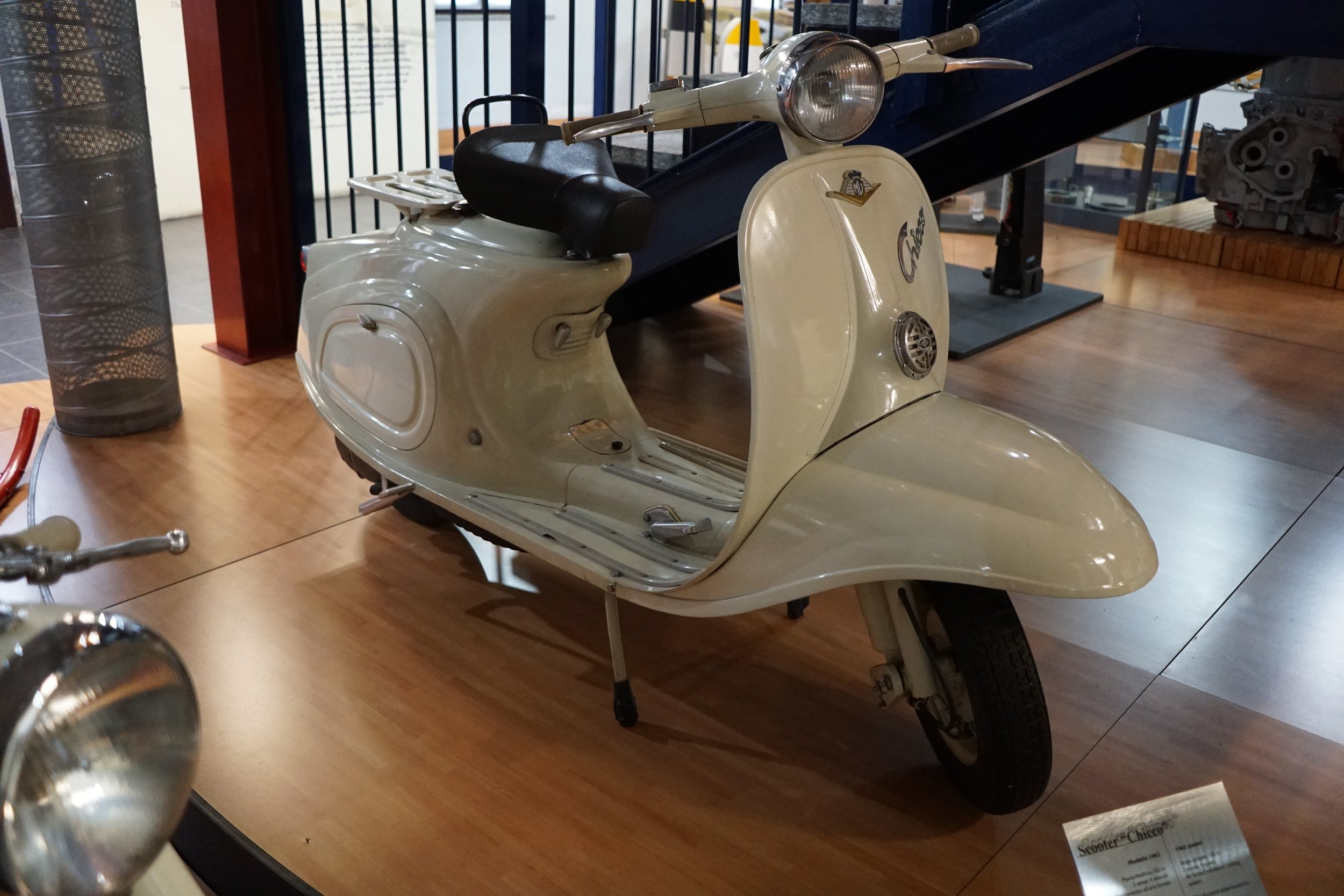 '62 Chicco scooter – This is a 1962 developmental prototype for a model that was fairly successful, selling 3,000 units from 1960-'63. It has a fan-cooled 155cc 2-stroke motor with 4 speed 'box.