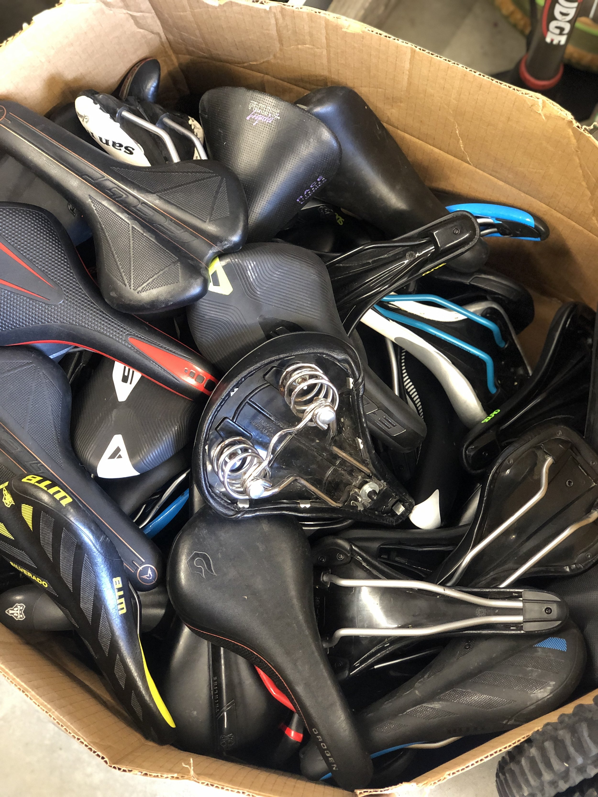 Sometimes we hit the jackpot and get a bulk donation like these like-new saddles! Donation Processing volunteers will sort, price and put these goodies out for sale.