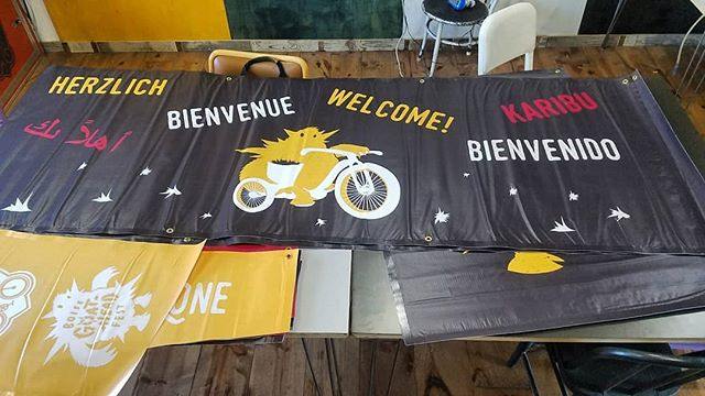 New banners got us feelin' super fresh for year two!  Thank you @trademark.design.build for the great new look, can't wait to show em off this weekend!  #boise #boisegoatheadfest #bikesforall