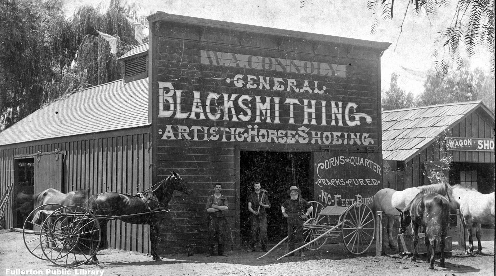 One of our main inspiration examples of a 19th century shop. Picture from Fullerton, Orange County, CA, 1889.
