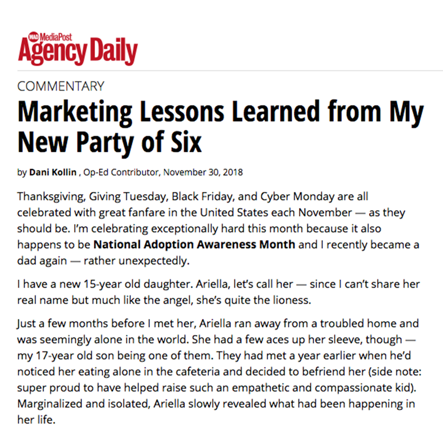Marketing Lessons Learned from My New Party of Six