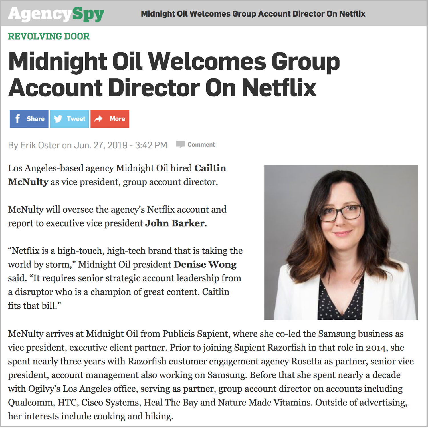 Caitlin McNulty Joins Midnight Oil as VP, Group Account Director