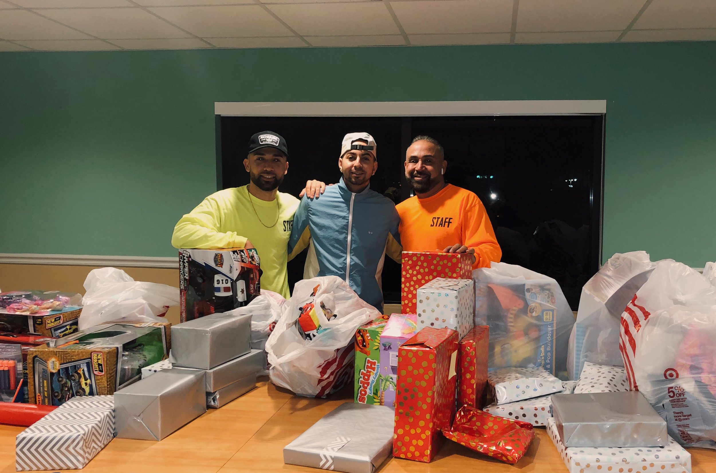 JQuiles and his team personally wrap and drop off Christmas gifts for the kids at the shelter!