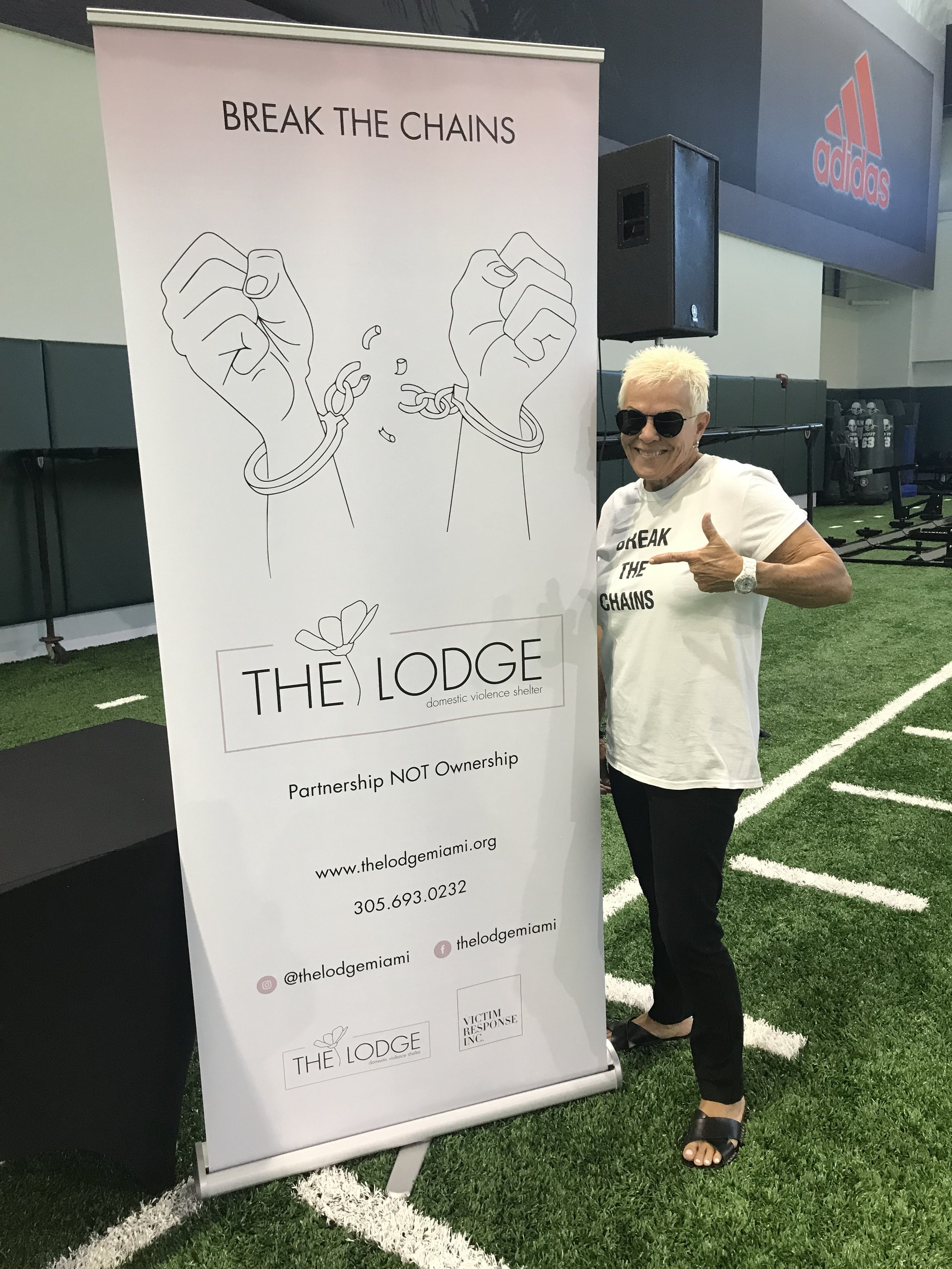 Our CEO represents The Lodge & FCADV at 2019 All Pro Dad at the University of Miami