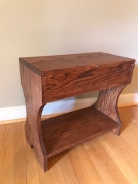 Red Oak Hour Glass chest bench - Red oak wood table with lift open top.