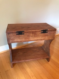 Red Oak Hour Glass chest bench - Rear view