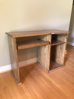 Poplar wood desk - Custom made desk with pull out keyboard tray