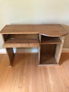 Poplar wood desk - Storage area for desktop tower or printer.