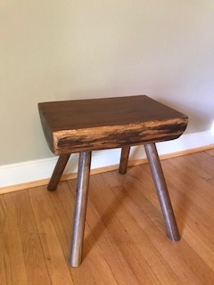 Black Walnut Half log bench - As close as sitting on stumps as you can get. This piece is made of black walnut to include the feet.