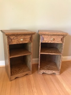 Oak nightstands - Matching oak night stands. Brass knobs bring out the golden oak color.