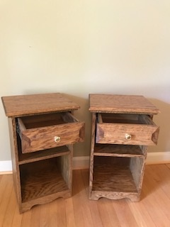 Oak nightstands - Each nightstand has a smooth sliding drawer with two shelves
