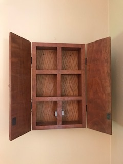 Cherry wood spice cupboard - Magnetic latches to secure both doors