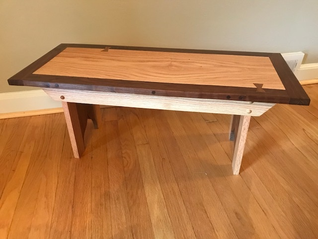 Oak and Black Walnut Bench - This item was entered into Frederick County's Great Frederick Fair and won 1st place in the carpentry section
