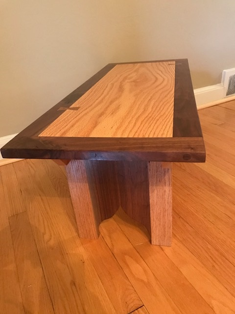 Oak and Black Walnut Bench - This bench has the rare Chestnut inlay on the bench top.