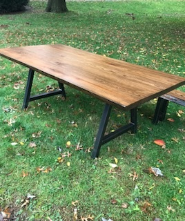 Live Edge Oak Table - This is a 7' X 4' live edge Oak Table with steel tubing legs.