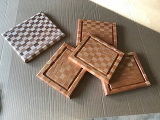 Oak and Cherry Cutting Boards - This checkered design allows the big juice grooves to really pop.