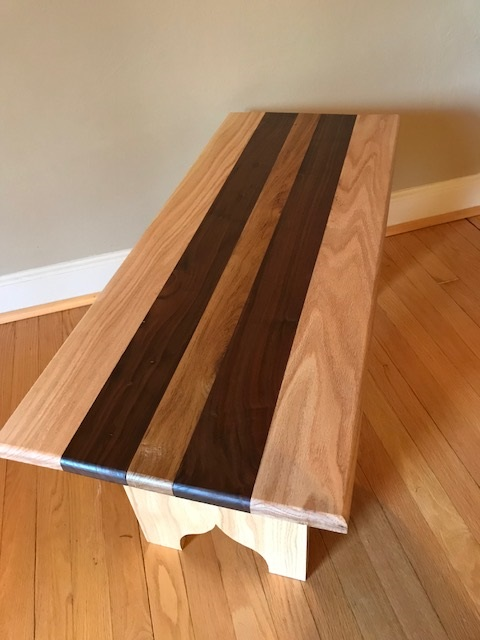 Country Bench - This is an oak, Black Walnut, and Chestnut bench