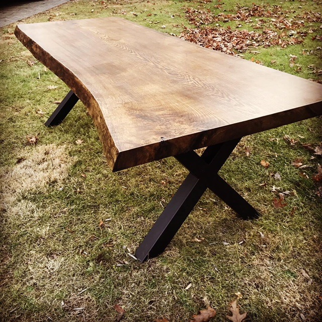 "Oak Live Edge Table - Steel ""X"" frame legs to accent the Jacobean stain"