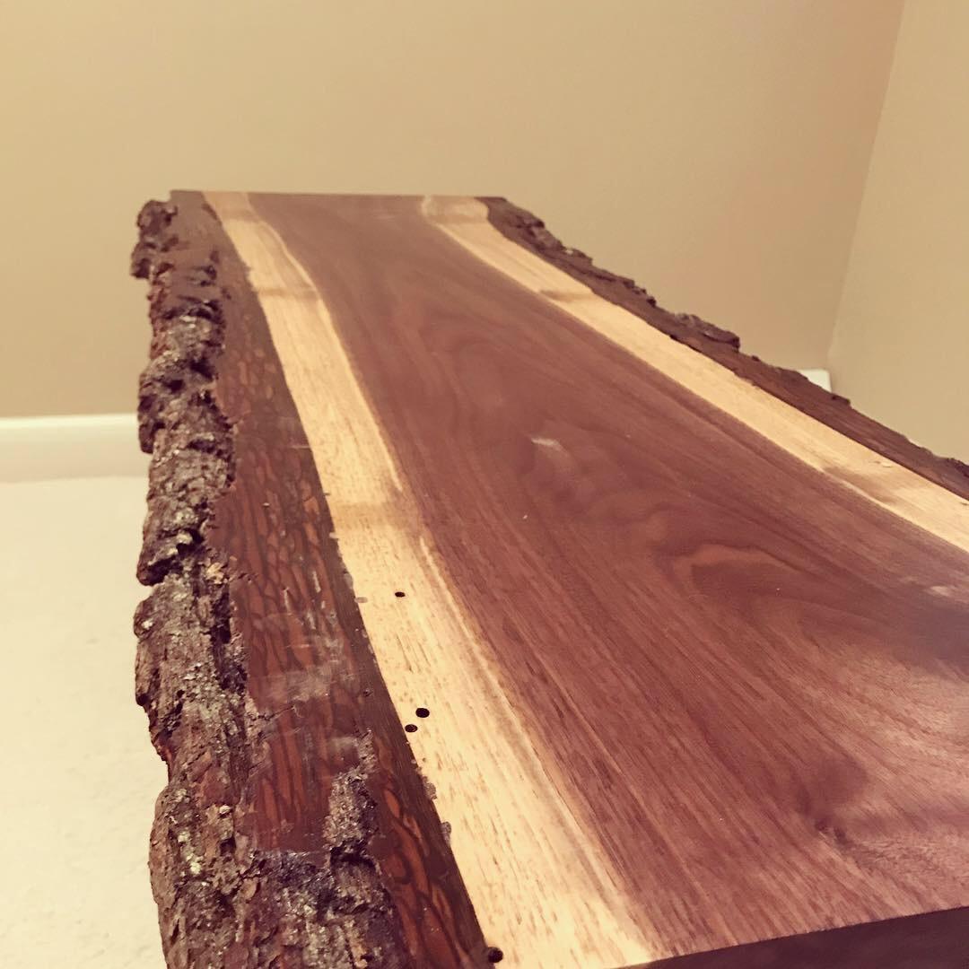 Black Walnut bench - Beautiful bark on this black walnut bench