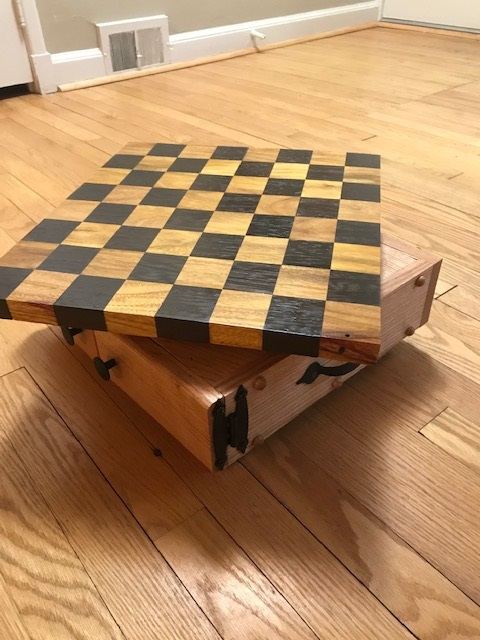Chess Board - Canarywood and Wenge rotating top with oak storage compartment.