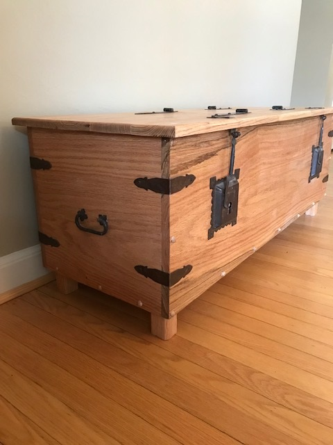 Toy Chest - Oak toy chest with vintage hardware