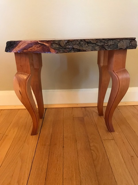 Rustic Elegance Cherry Table - Live edge cherry slabs with elegant french legs