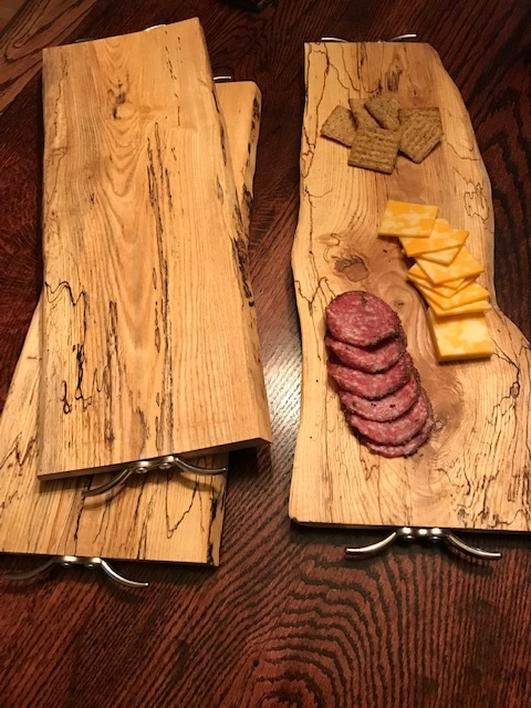 Ash serving trays - place all your meats and cheeses on this Ash live edge serving tray