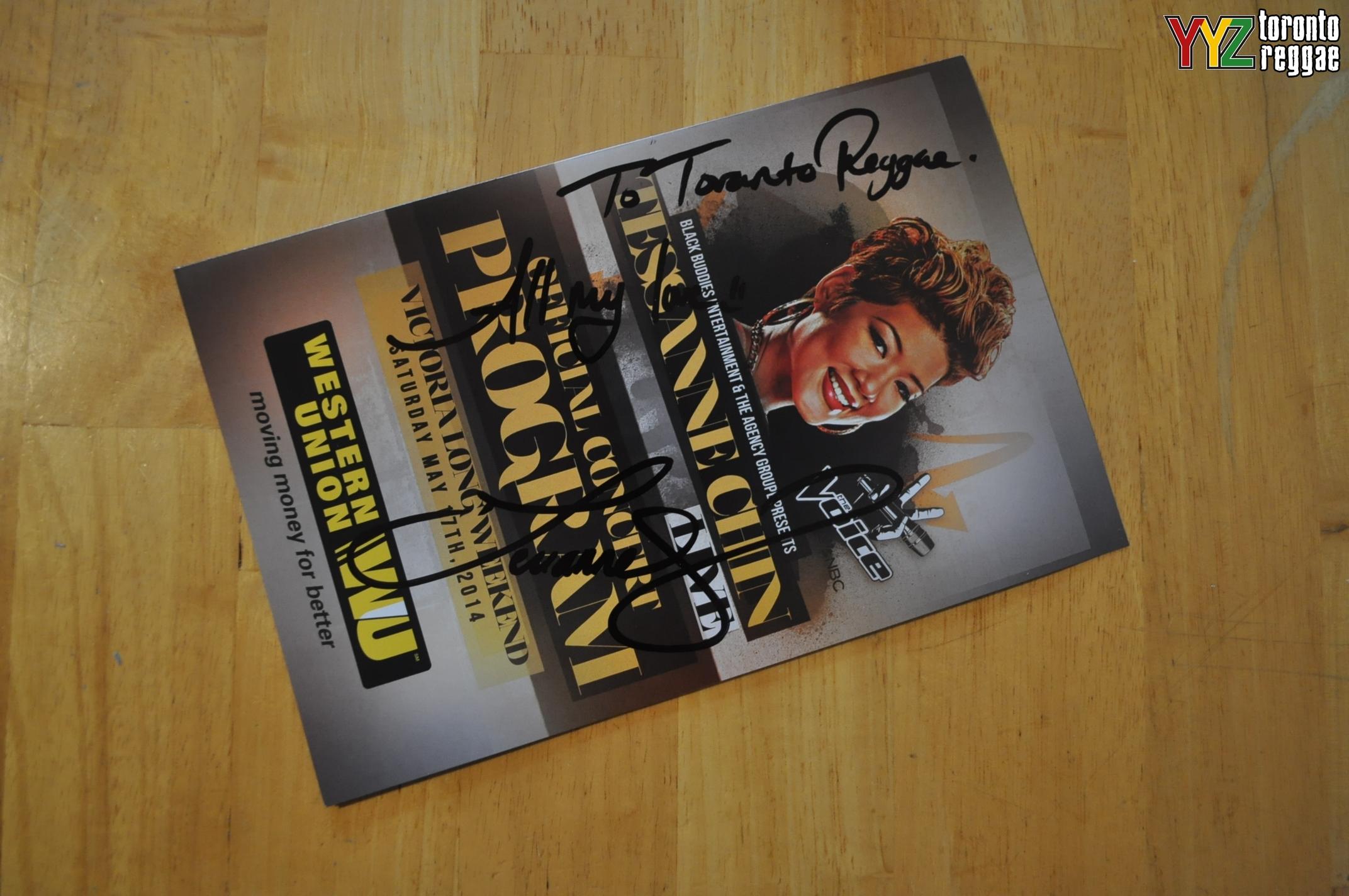 Tessanne Autograph for Toronto Reggae!