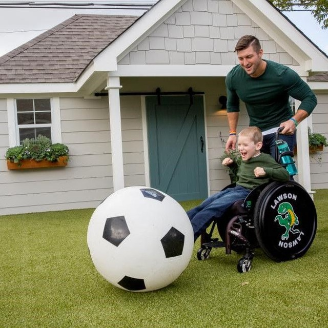 Our turf is wheelchair and soccer ball friendly. Give it a shot! #artificialgrass #sportsgrass #playgroundgrass #fixerupper