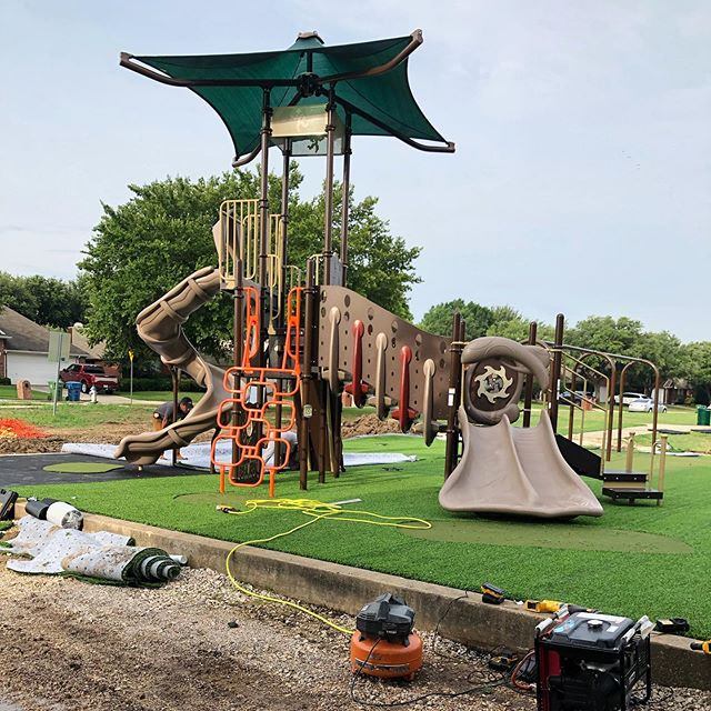 We are having a blast installing Playground Grass Extreme in Flower Mound! One more inclusive park to bless the community! 😊 — #foreverlawn #foreverlawntexas #texas #artificial #turf #artificialturf #artificialgrass #flowermound #dallas #playground #fun #park #grass #community #play #inclusive #dallastx