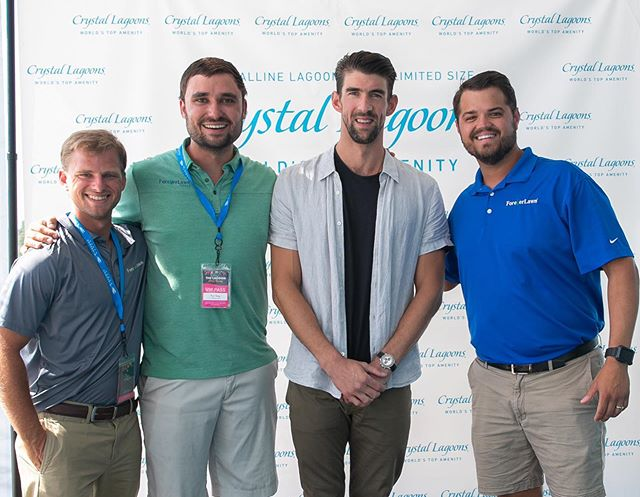 ForeverLawn TX team—Dylan, Nick, and Jason had the pleasure of meeting Michael Phelps at the grand opening of the Crystal Lagoons at Windsong Ranch this past Friday, June 28th. We had a blast at Splash Bash! 😊 — #foreverlawn #foreverlawntexas #texas #artificial #turf #artificialturf #artificialgrass #prosper #dallas #fun #grass #community #dallastx #windsongranch #crystallagoona #crystal #lagoon #amenities #oasis #water #swim #michaelphelps #worldstopamenity #clearlyextraordinary #splashbash