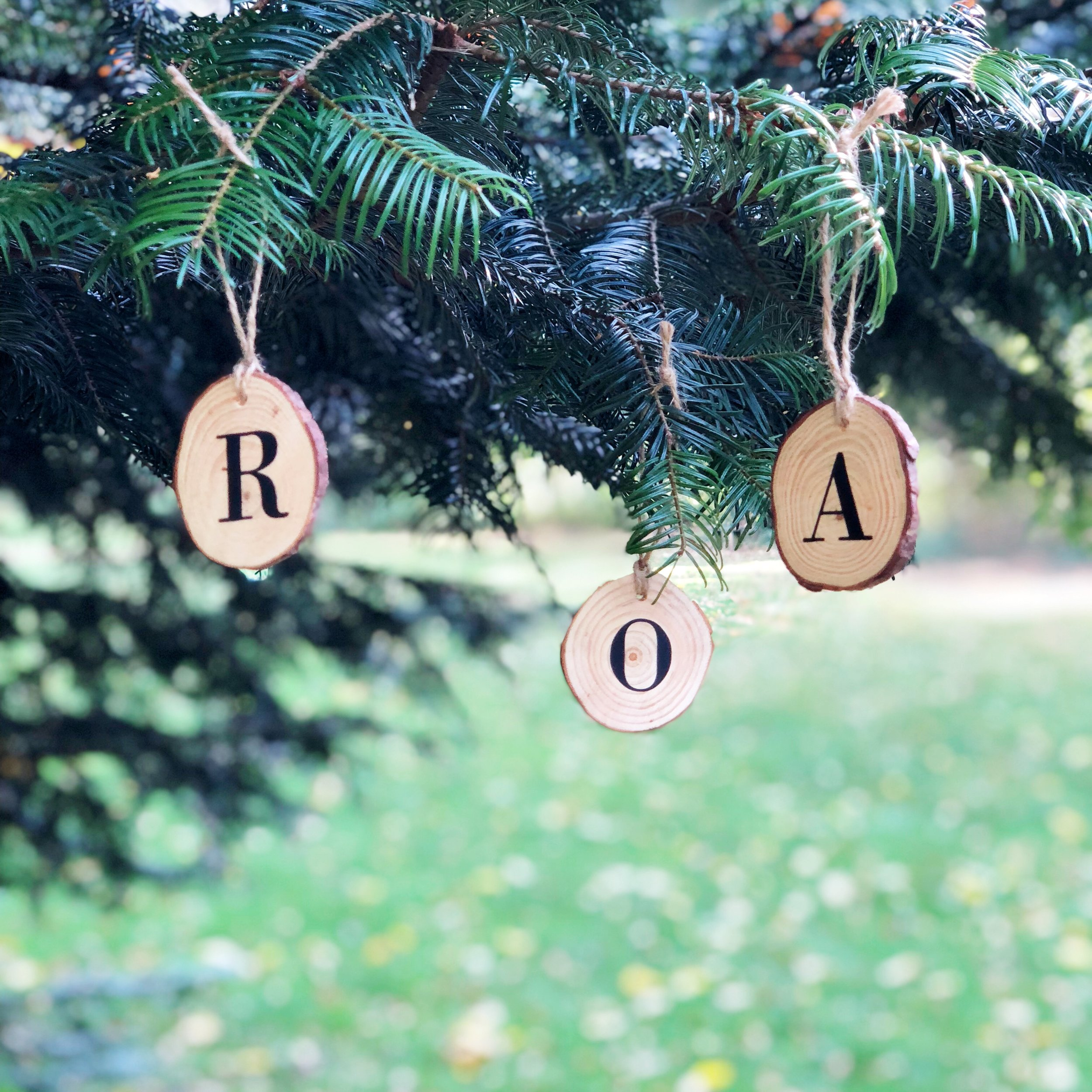 Personalised Wood Ornament   : £5  A classic serif letter, on a rustic pine wood slice. Perfect personalisation for your tree. Get one for the whole family!   - Lone Owl Studio