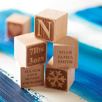 Personalised Baby Blocks   : £5 each  Lots of personalisation options available. Made from unpainted beech wood.   - Sophia Victoria Joy