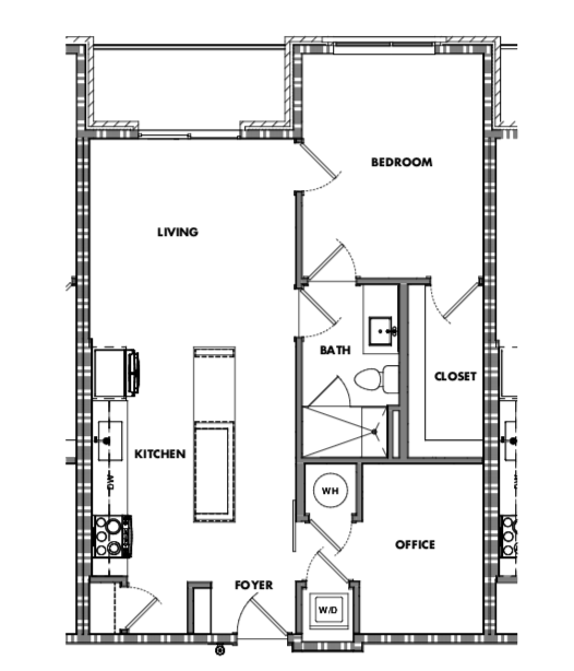 One bedroom w/den (784sf)    starting at $360,000