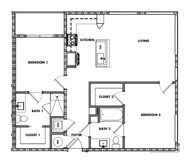 Two Bedroom - Option 2 (1406sf)    starting at $415,000