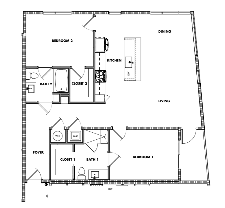 Two Bedroom - Option 1 (1018-1261sf)    starting at: $415,000
