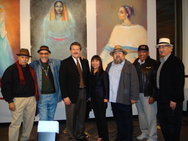 RCAF Artists in front of Lorraine's drawings: Juanishi Orosco, José Montoya, CSUS President, Lorraine García-Nakata, Ricardo Fabela, Esteban Villa, Juan Carrillo, 2007