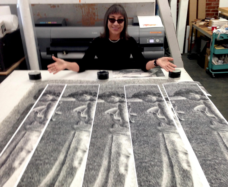 "lorraine garcía-nakata, proofing fine art print reproduction (of ""Inretrospect"") via print test strips at Candela Fine Art Printing."