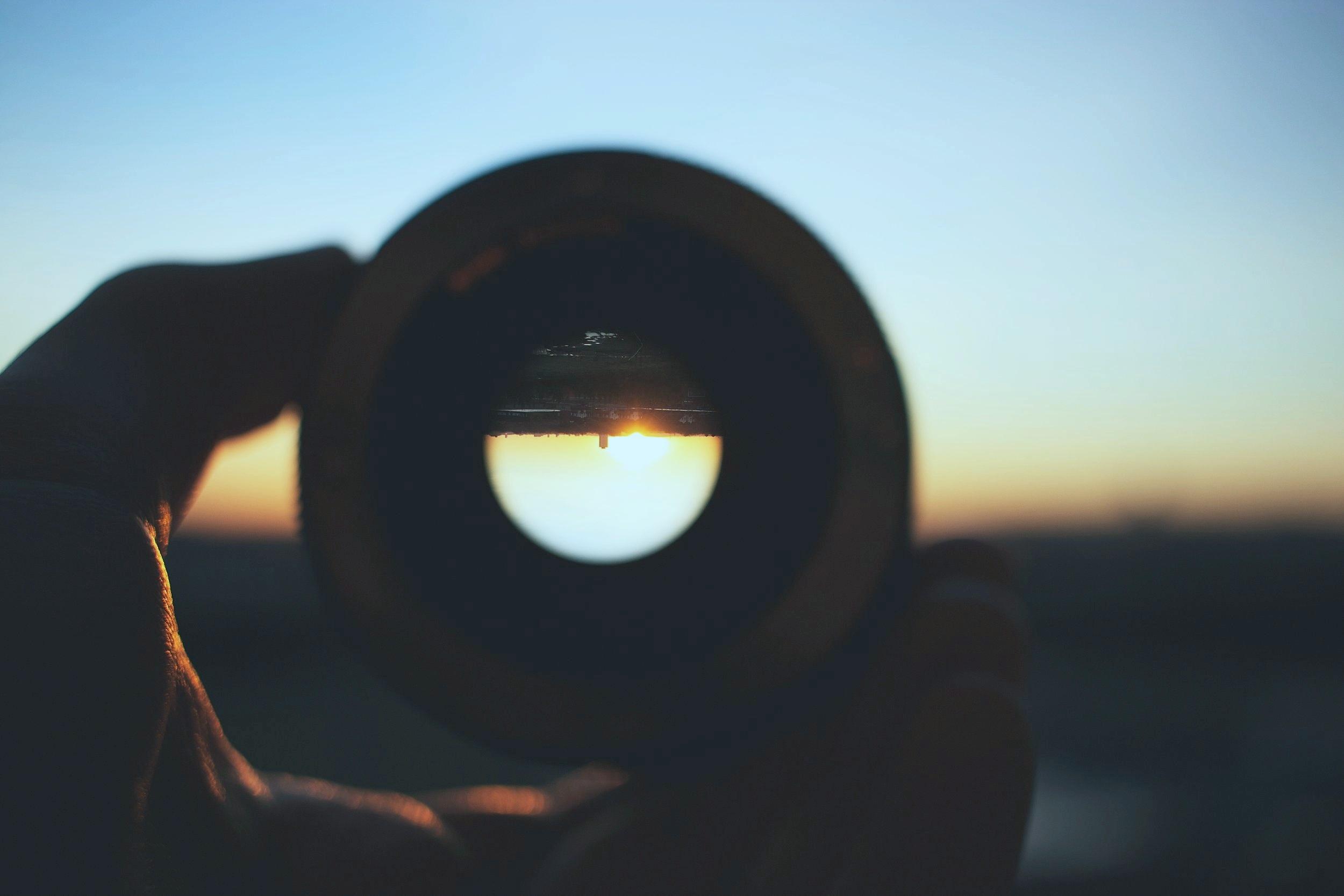 bringing city to focus through lens