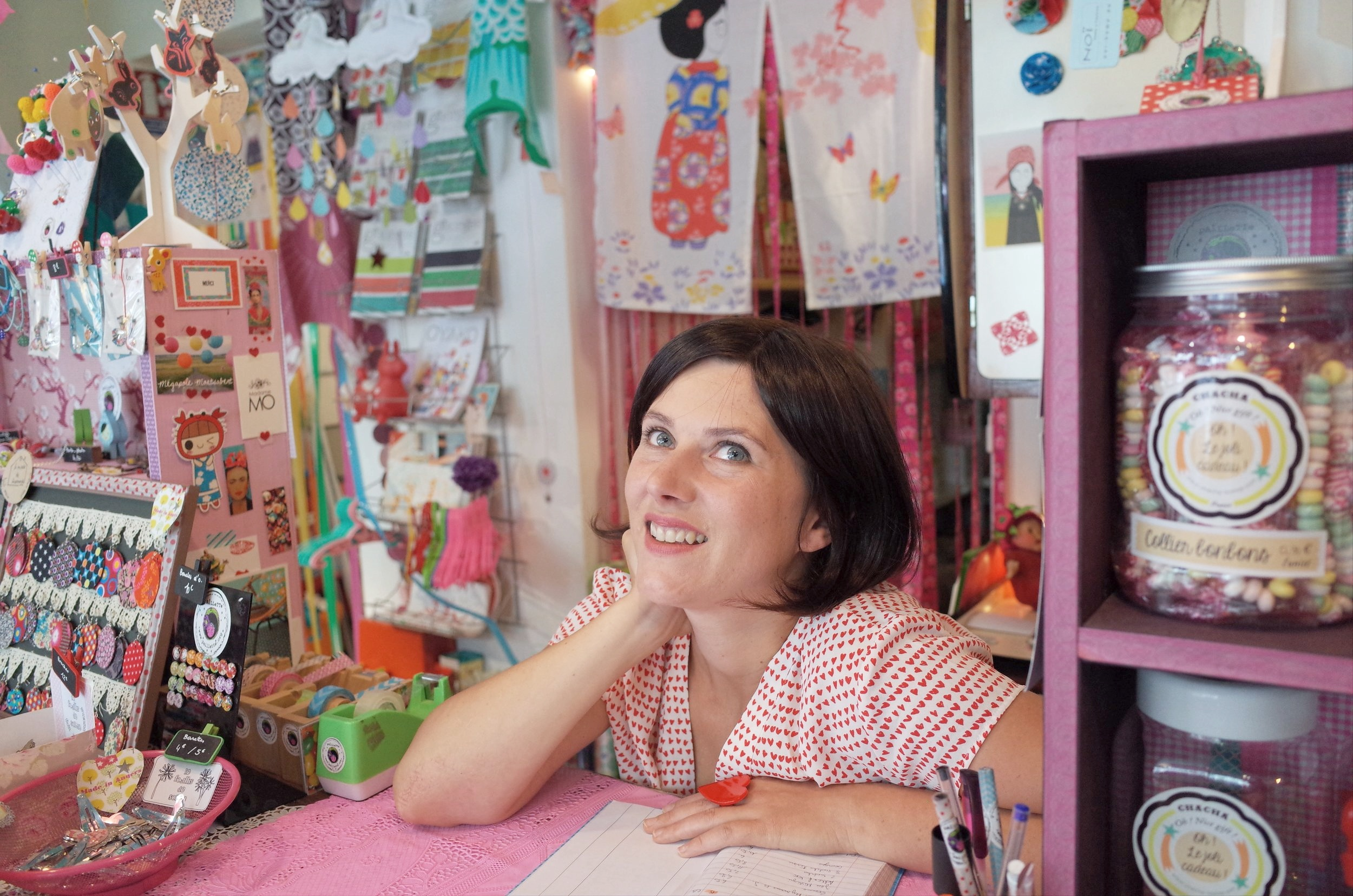 female owner in her handmade gifts store