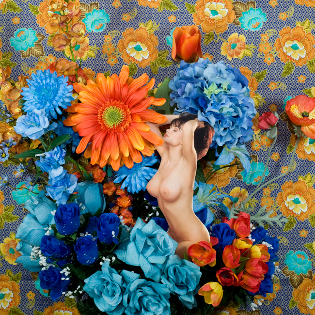 Still Life with Flowers, Blue and Orange